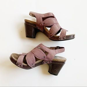 Dansko Nina Flower Cut Leather Heeled Sandals 6